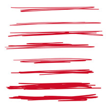 Set Of Hand Drawn Red Lines. V...