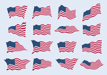 The US Flag Waving In The Wind...