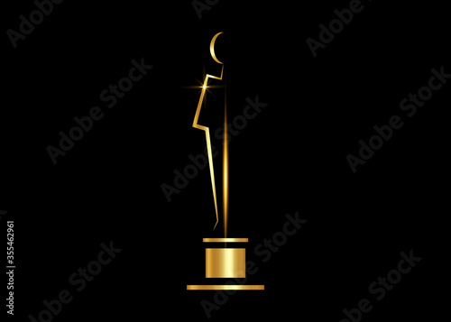 Fotografie, Obraz Vector Gold Academy Awards icon isolated on white background