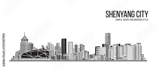 Fototapeta Cityscape Building Abstract Simple shape and modern style art Vector design -  S