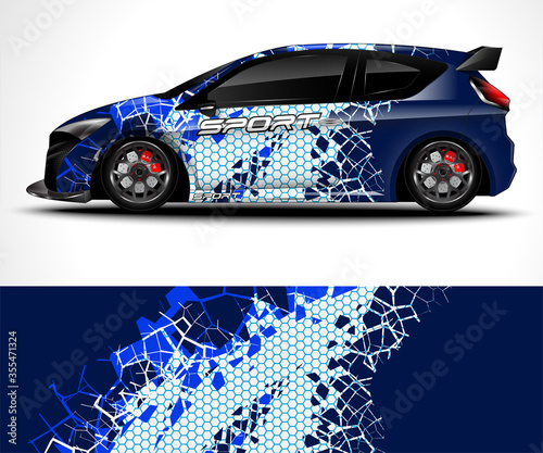 Tablou Canvas Racing sport car wrap design and vehicle livery