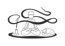 Vector Illustration Of Meditation With Cat