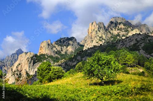 Photo Pins Laricio et Aiguilles de bavella en Corse, sur fond de ciel bleu nuageux et nature sauvage et abrupte des rochers formant une montagne découpée au profil accidenté et dentelé
