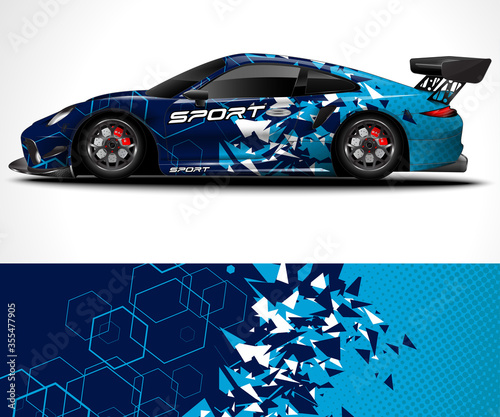 Leinwand Poster Racing sport car wrap design and vehicle livery
