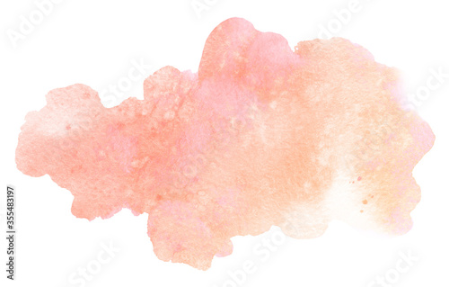 Photographie Abstract watercolor light orange brush stroke with stains isolated on white back