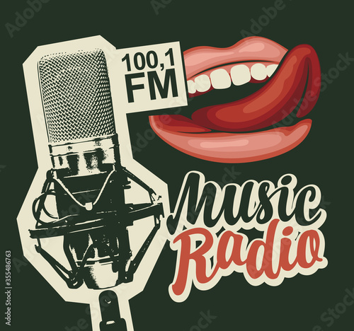 Music radio FM broadcasting concept Tablou Canvas