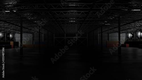 Fotografía 3d rendering of dark empty factory interior or empty warehouse