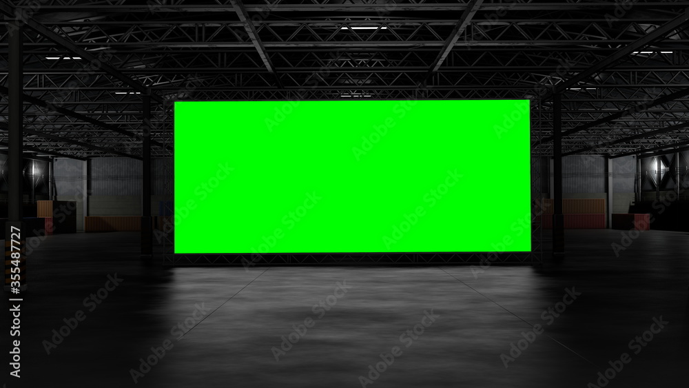 Fototapeta 3d rendering of dark empty factory interior or empty warehouse, a green screen backdrop in the middle