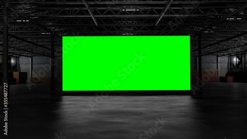 Fotografie, Tablou 3d rendering of dark empty factory interior or empty warehouse, a green screen b