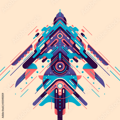 Fotografiet Futuristic style design, made of various abstract geometric shapes in color