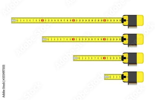 Obraz vector measure tape meter set - fototapety do salonu