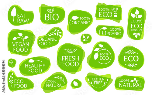 Fototapeta Overlapping eco label, logo with leaves. Overprint emblem for organic natural product. Bio, gluten free, eat raw, vegan fresh, healthy food. Sign for badge, tag, packaging Isolated vector illustration obraz