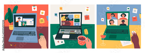 Fotografie, Obraz Three various Workplaces, working desks