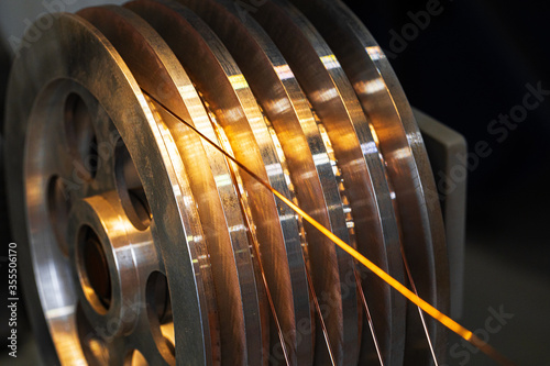 Production of cable wire at cable factory close up Fototapeta