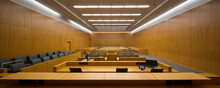 Panoramic View Of A Courtroom Viewed From The Bench