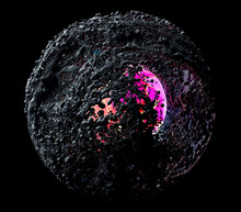 3d Render Of Abstract Art Of Surreal 3d Sphere Planet Or Asteroid In Explosion Process Based On Small Balls Particles In Black Matte Rubber Material With Glowing In Pink Light Core In The Dark