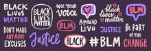 BLM. Black Lives Matter 2020 Sticker Set Collection. Social Media Content Post Banner Anti Racism.