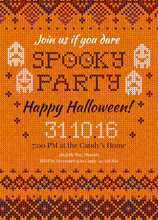 Handmade Knitted Background Pattern Halloween Party Invitation With Scandinavian Ornaments. White, Orange, Purple Colors. Flat Style