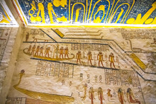 Ancient Burial Chambers For Pharaohs With Hieroglyphics At The Valley Of The Kings, Luxor, Egypt.