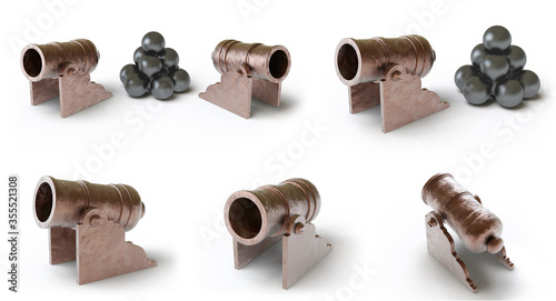 Photo Collection of cannons. 3D Illustration.