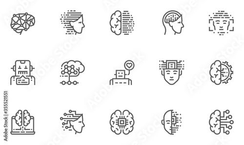 Artificial Intelligence Vector Line Icons Set Wallpaper Mural