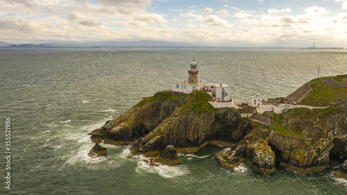 Aerial view of Baily Lighthouse, Howth North Dublin Canvas Print