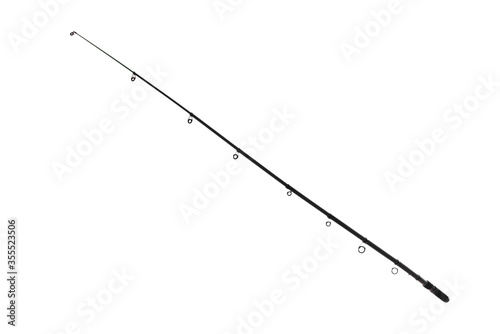 Fotomural black spinning fishing rod isolated on white background