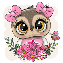Cartoon Owl With Flowers On A White Background