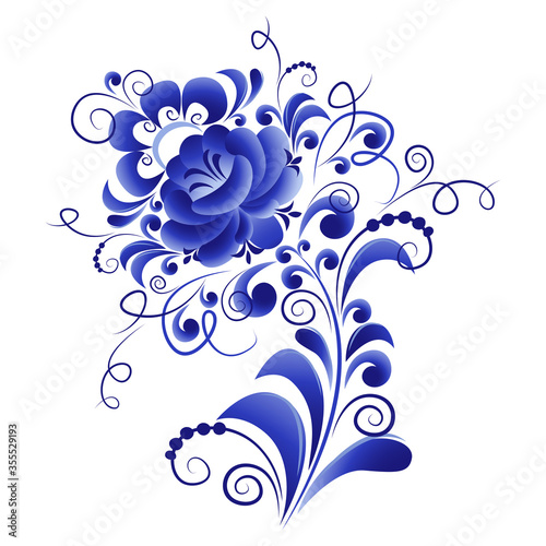 фотография Floral vector element, abstract design, made in the technique of Russian folk ar