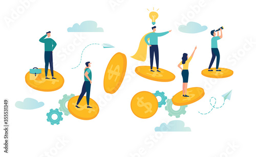 Vector illustration, Vector illustration, united business team is flying astride money on the way to the goal and success Wallpaper Mural