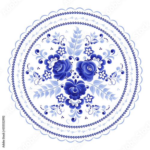 Leinwand Poster Round plate with a floral pattern of stylized roses is made using the Russian fo