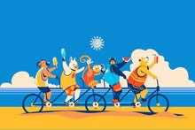 Summer Animals Cycling Togethe...