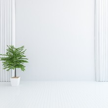 White Minimalist Room Interior...