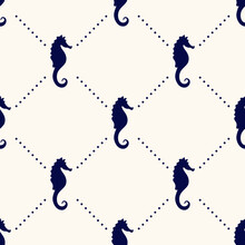 Vector Seamless Geometric Pattern With Silhouettes Of Sea Horses And Polka Dot. Maritime Backdrop. Retro Nautical Background For Textile, Texture, Print,wrapping Paper, Scapbooking