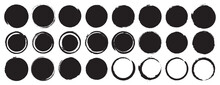 Set Of Black Grunge Circles Sh...