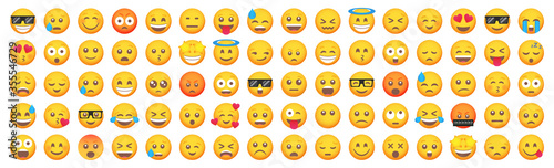Big set of emoticon smile icons. Cartoon emoji set. Vector emoticon set