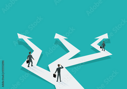 Obraz Business planning and correct way of  decision choosing - people in low poly style walking on crossroads different direction arrows - vector illustration for business concept - fototapety do salonu