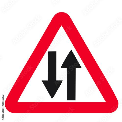 Obraz na plátně Vector road sign two way traffic