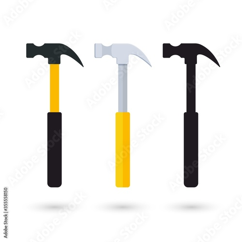 Obraz na plátně Ordinary claw hammer in three different looks, completely flat without shading, more detailed one and icon representation
