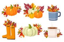 Hello Autumn, Autumn Composition, Flat Set Autumn Elements, Colored Leaves, Pumpkin, Tea Cup, Autumn Boots, Umbrella, Dog, Mushrooms And Street Lamp
