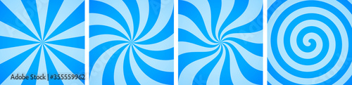 Fototapeta Set of sweet blue candy abstract vector backgrounds obraz
