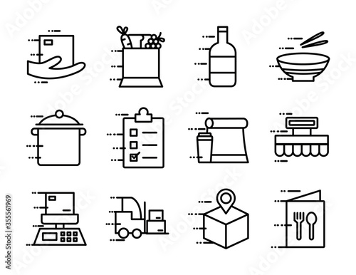 delivery food groceries service set icons Fototapete