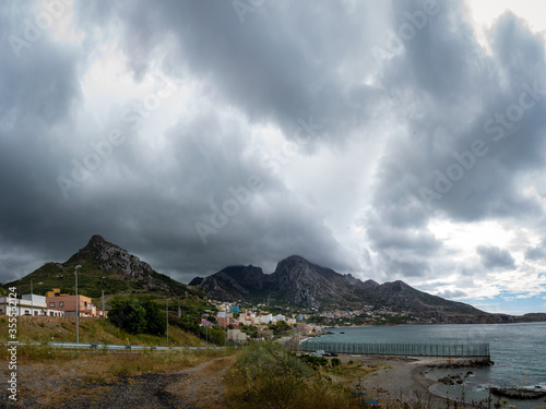 Landscape of the coast and city of Ceuta in Spain, place of coexistence of Christian and Arab cultures