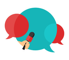 Media Interview Icon Or Press Conference - Microphone In Hand And Dialog Bubbles With Place For Text -  Isolated Template For Breaking News Headline, Banner Or Poster