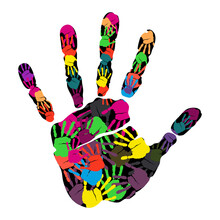 Handprint Isolated On White Background. Creative Hands Prints. Cultural Diversity. Juneteenth Freedom Day. Seamless Vector Illustration Of Colorful Human Hand Prints For Social Support And Unity.
