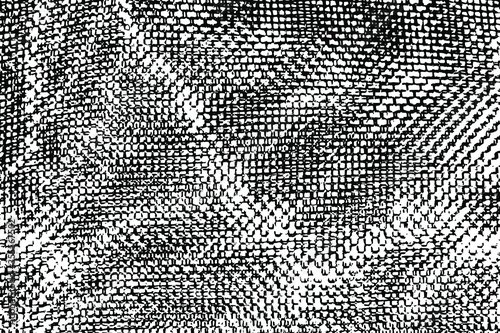 Photo Grunge texture of uneven crumpled mesh fabric