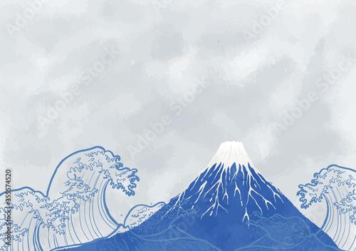 富士と海:年賀状 水彩 富士山 海 波 自然 浮世絵 Fototapeta