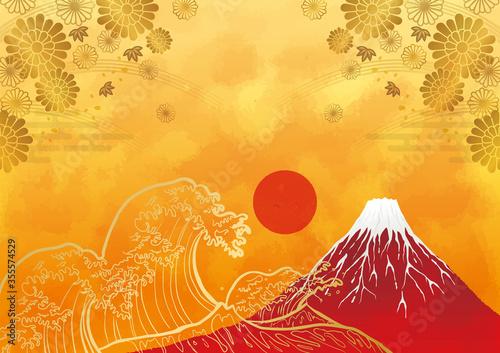 初日の出と赤富士と海:年賀状 赤富士 富士山 ご来光 海 初日の出 太陽 波 Fototapet