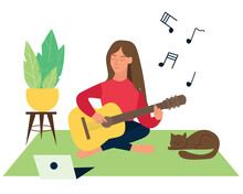 The Girl Plays The Guitar, A Cat Sleeps Nearby. Online Guitar Training Courses. Flat Style Vector Illustration.