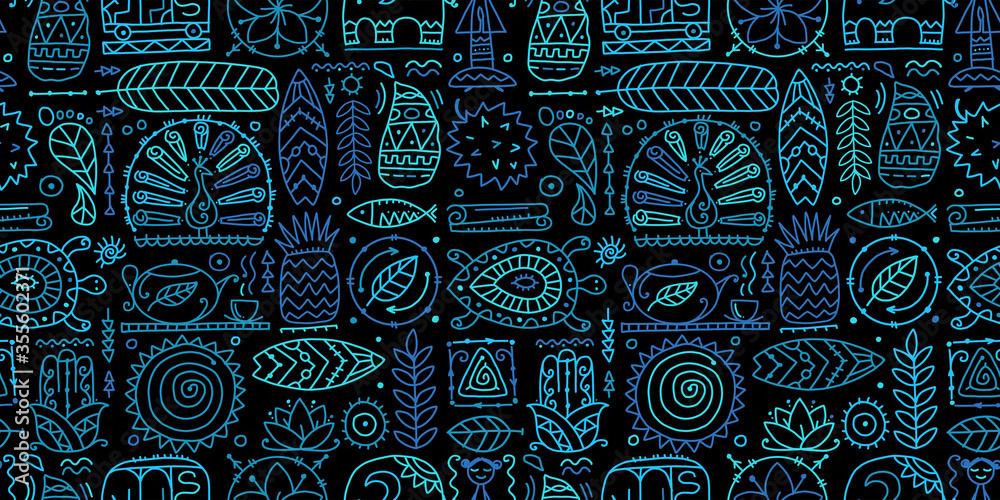 Fototapeta Sri Lanka art travel, tribal seamless pattern for your design